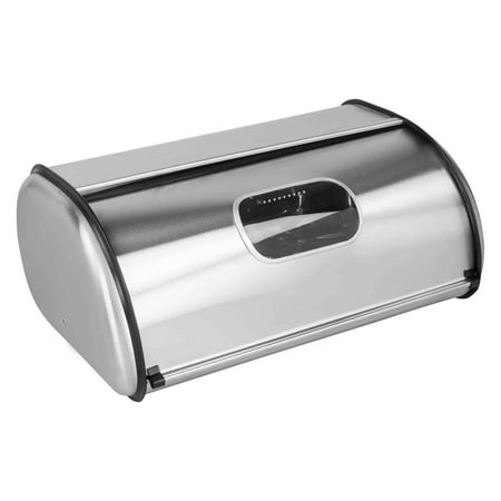 Home Basics Bread Box, Stainless Steel with Window (Stainless Steel Bread Box)