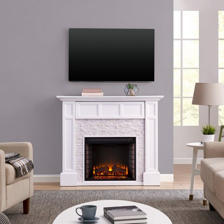 Brightstone Faux Stone Media Fireplace Traditional White ()