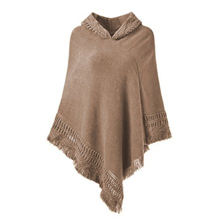 SAYFUT Fashion Knit Tassel Fringed Pullover Poncho Sweater Cape Shawl Wrap for Women ()