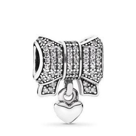 Pandora Bow silver charm with clear cubic zirconia and heart 791776cz](Pandora Bow Charm)