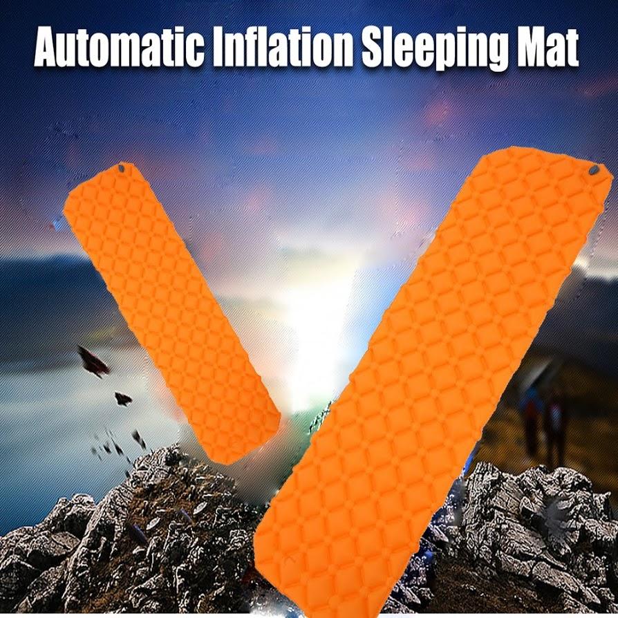 Inflatable Camping Pad Folding Camping Picnic Pad Sleeping Bag Mat Fast Filling Air Moistureproof Sleeping Pad Orange