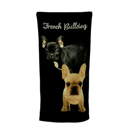 2 French Bulldogs Black Beach Towel 30 X 60 Inch
