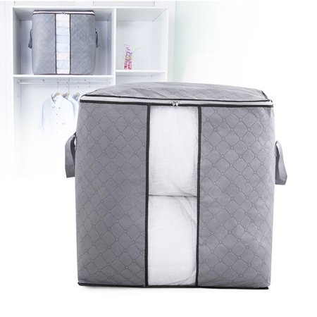 Foldable Storage Bag Organizers, Waterproof Anti-Mold Moisture Proof Clothes Storage Container Zipper Bag with Clear Window Carry Handles for Blanket Comforter Bedding, Closet Storage Boxes