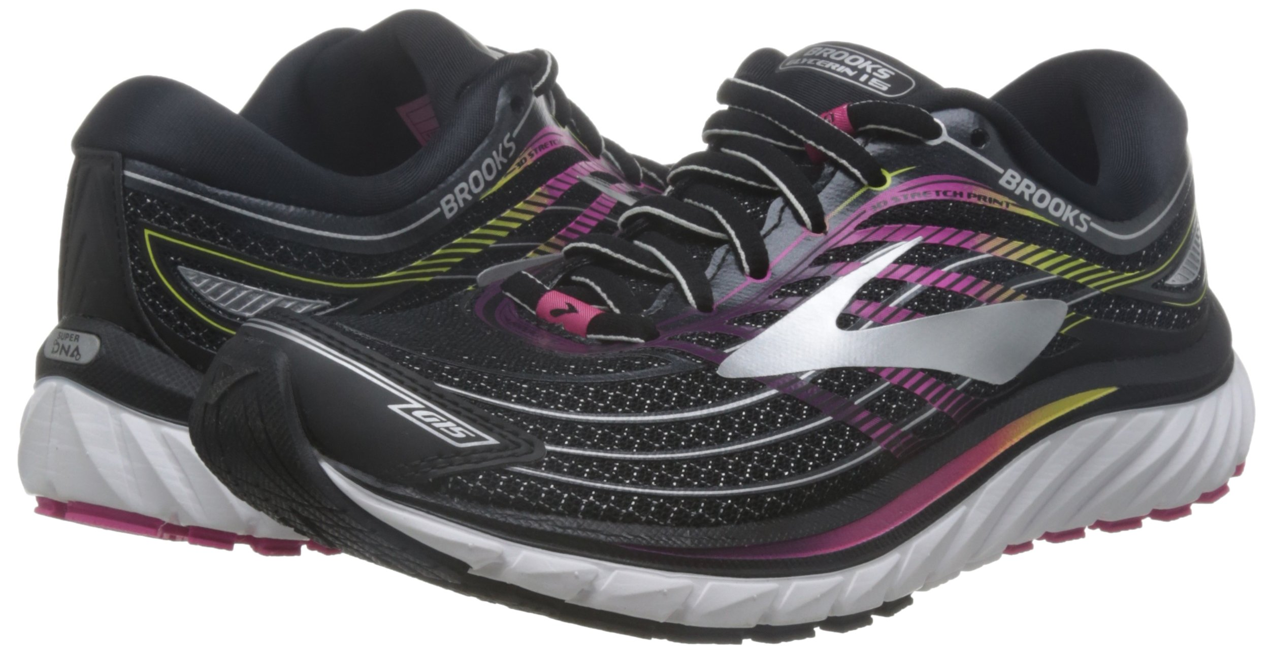 Brooks 15 Women's Glycerin 15 Brooks Running Shoes (Black/Pink, 6.0) 7a630c