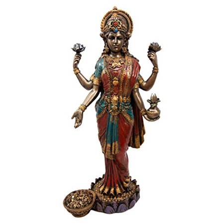 Atlantic Collectibles Hindu Goddess Of Fortune And Prosperity Lakshmi Standing On Lotus Pedestal Figurine -