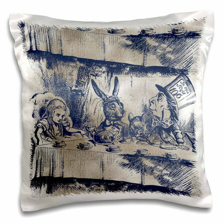 Mad Hatter Tea Party Outfits (3dRose Alice in Wonderland Tea Party with Mad Hatter - Pillow Case, 16 by)