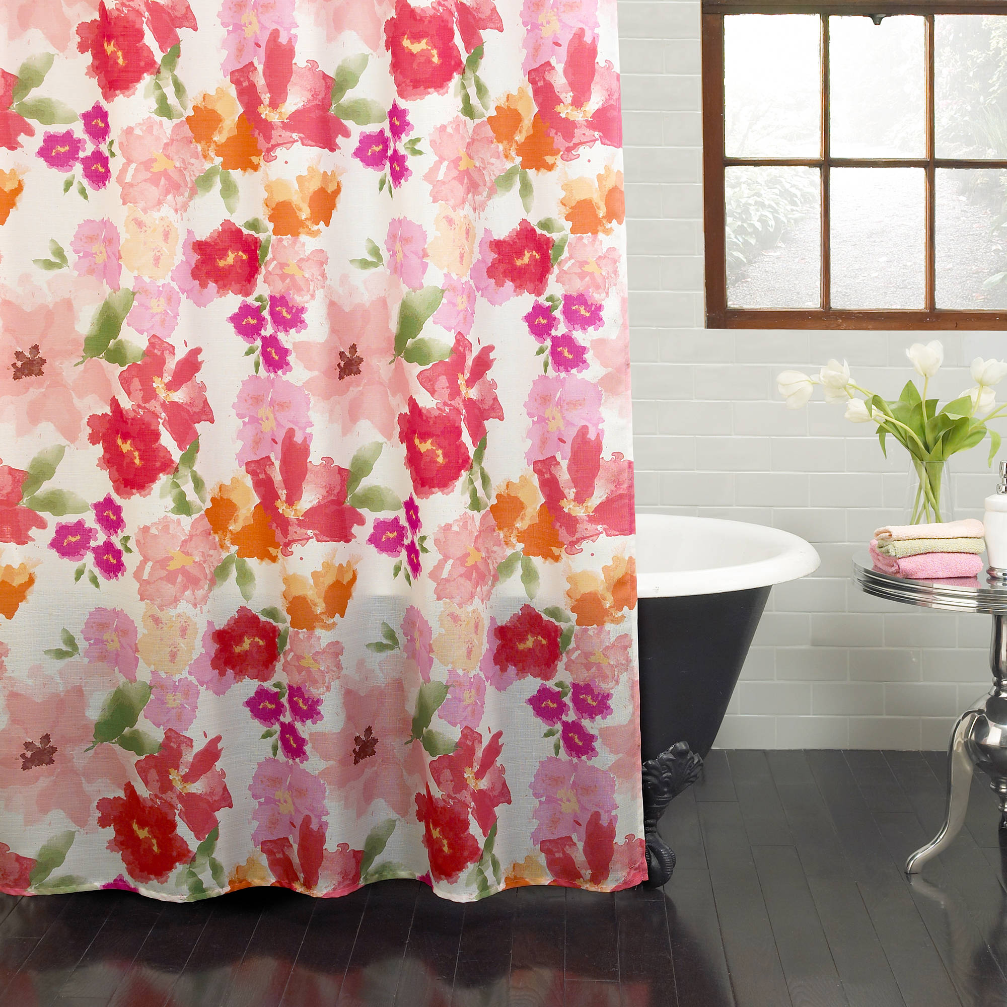"Excell Posie 70"" x 72"" Fabric Shower Curtain, Floral"