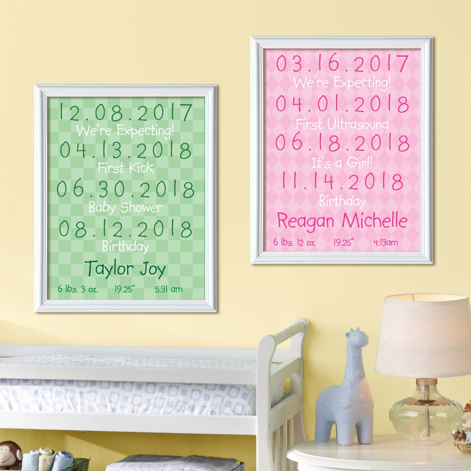 "Personalized Baby Milestone 11"" x 14"" Print-Available in 3 Colors"