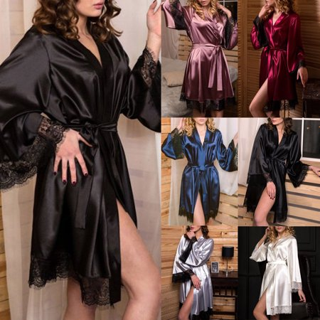 Women's Silk Satin Short Bridal Kimono Robe Sleepwear Bathrobe, Black,White,Blue,Pink - Personalized Bridal Robe