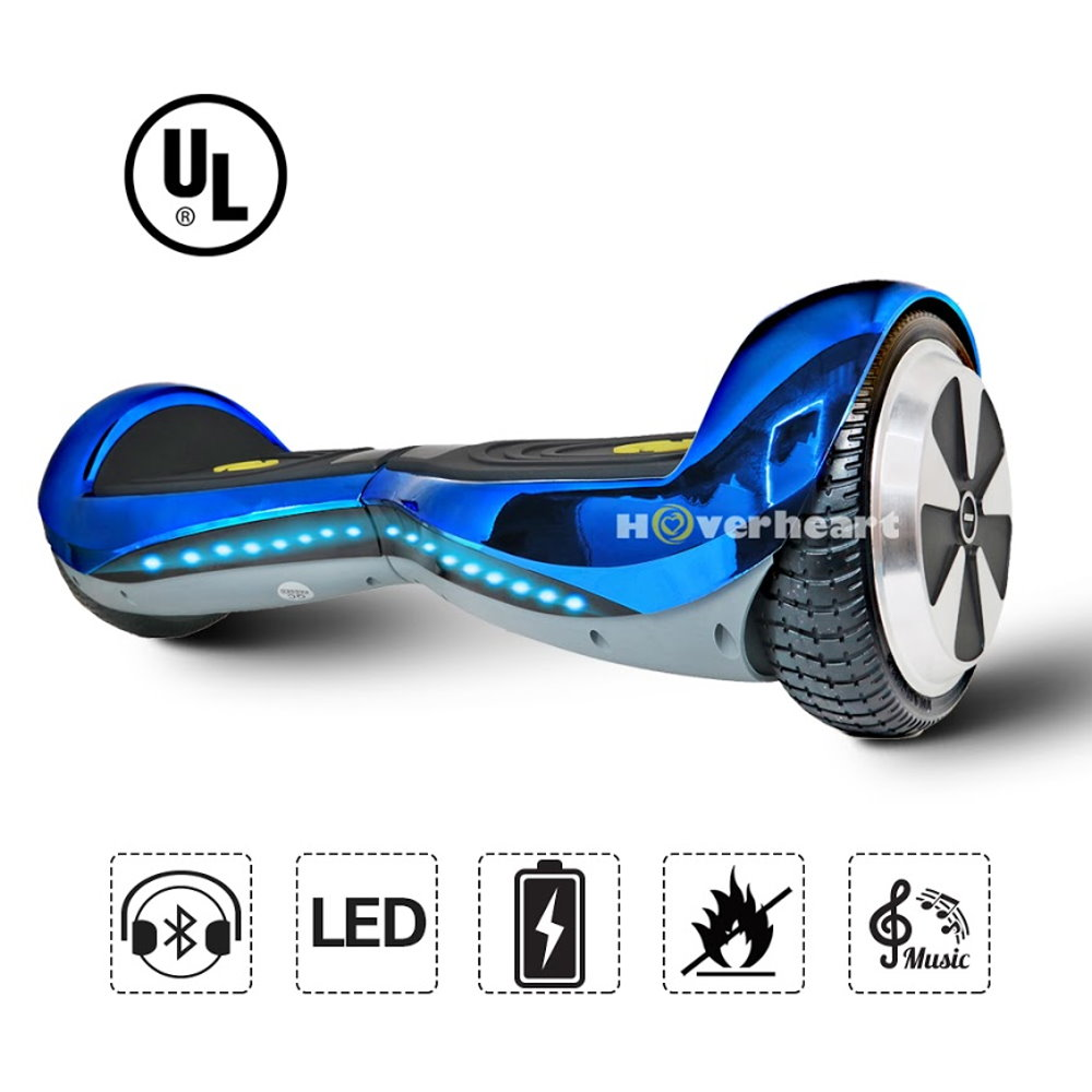 "Hoverheart UL 2272 Certified 6.5"" Premium Bluetooth Hoverboard (Chrome Blue)"