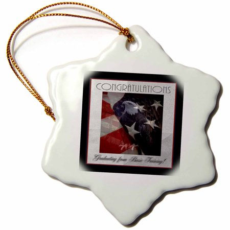 3dRose Basic Training Congratulations, Proud Eagle and American Flag - Snowflake Ornament, 3-inch
