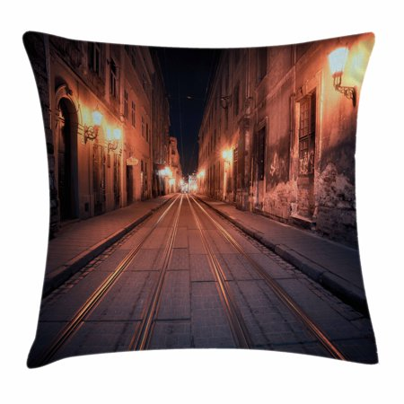 Urban Throw Pillow Cushion Cover, Old European City at Night Deserted Streets Ancient Architecture Buildings, Decorative Square Accent Pillow Case, 24 X 24 Inches, Yellow Coral Black, by Ambesonne