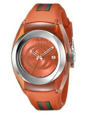 Gucci Women's 36mm Orange Rubber Band Steel Case Swiss Quartz Analog Watch YA137311