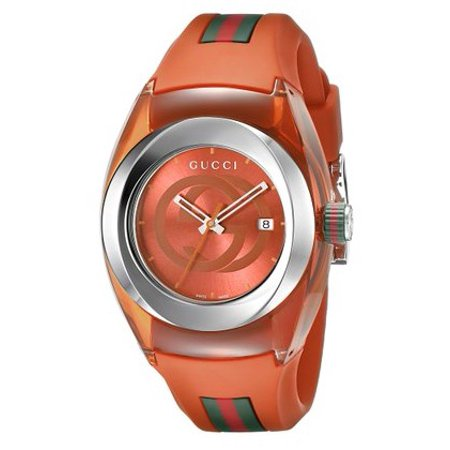 0a3e9e0fe3e21 Gucci Women's 36mm Orange Rubber Band Steel Case Swiss Quartz Analog Watch  YA137311