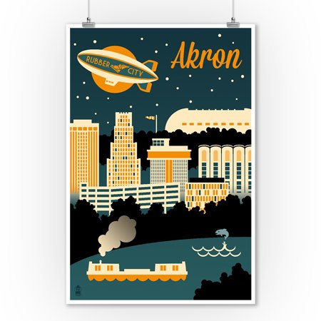 Akron, Ohio - Retro Skyline - Lantern Press Artwork (9x12 Art Print, Wall Decor Travel Poster)](Halloween Stores In Akron Ohio)