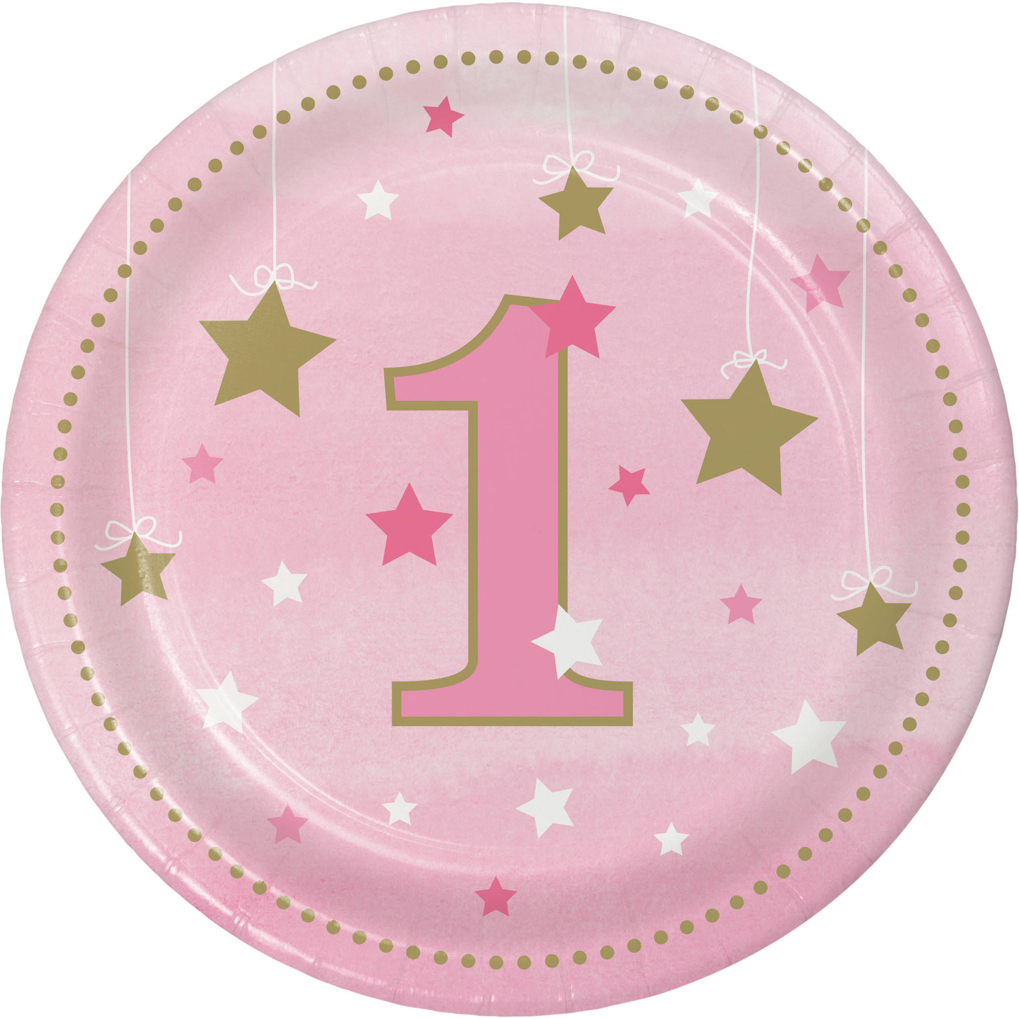 Little Star Girl 1st Birthday Dessert Plates, 8-Pack