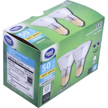 Great Value LED Indoor Floodlight Light Bulbs, 7W (50W Equivalent), Soft White, Dimmable, 2