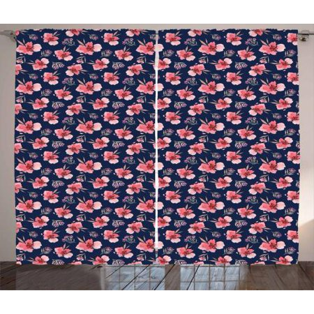 Watercolor Flowers Curtains 2 Panels Set, Vibrant Blossoms Harvest Season Tropical Accents Shabby Art, Window Drapes for Living Room Bedroom, 108W X 108L Inches, Indigo Coral Pale Pink, by Ambesonne
