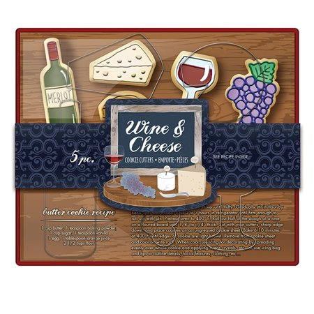 Brands Wine & Cheese Cookie Cutter Set, Metallic, Set of 5 wine and cheese shapes By Fox Run