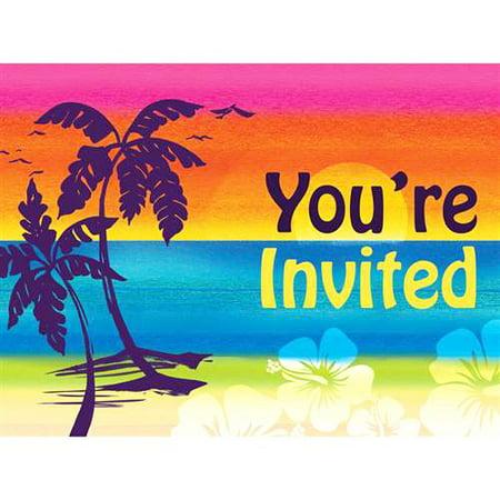 Hawaiian Luau 'Palm Tree Aloha Summer' Invitations w/ Envelopes (8ct) - Luau Invitation Ideas