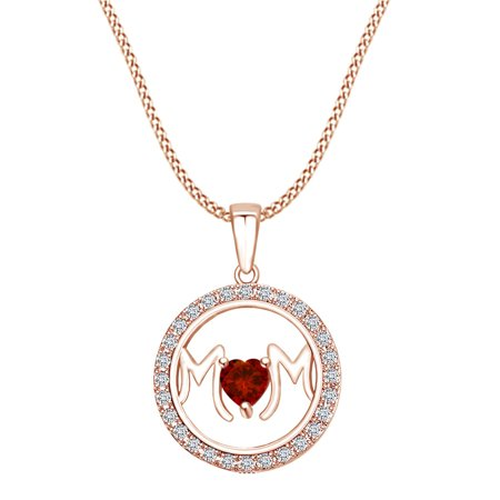 Garnet Circle Pendant (Mother's DAY Jewelry Gifts Simulated Garnet & White Cubic Zirconia Circle Frame Mom Heart Pendant Necklace In 14k Rose Gold Over Sterling Silver)