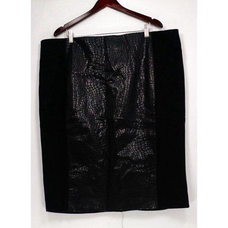 Plush Black Leather (G.I.L.I. got it love it Plus Sz Skirt 26 Faux Leather Pencil Black A280971 )