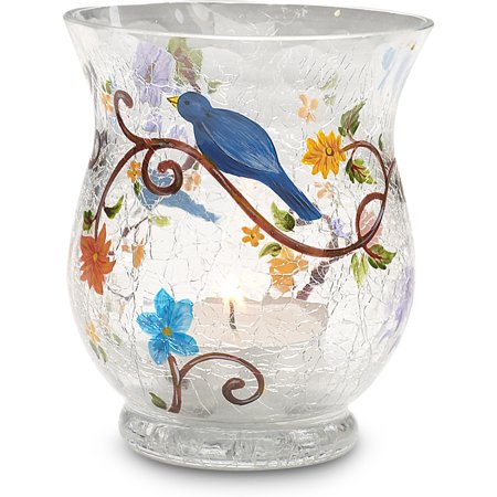 We Love Crackled Floral and Bird Hand Painted Glass Tealight Candle (Hand Painted Crackle Glass)
