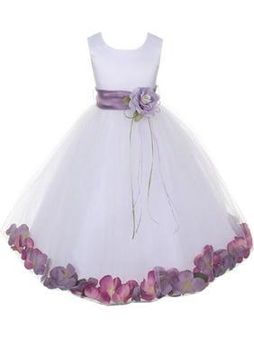 20adf51c068 Product Image Kids Dream Girls White Satin Petal Flower Girl Dress 7 8