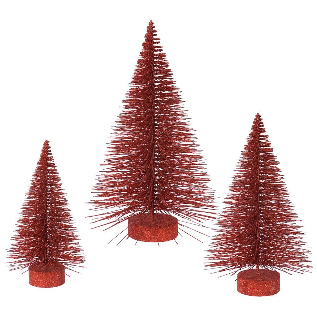 """Vickerman 16""""-20""""-24"""" Set of Three Red Glitter Fat Cone Artificial Trees, for Indoor Use Only"""