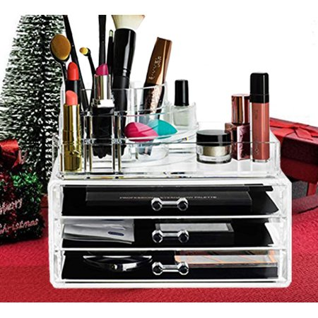 Clear Acrylic Cosmetics Makeup And Jewelry Organizer 3 Drawers With 8 Compartments Top Section Idea For Christmas Birthday Gift