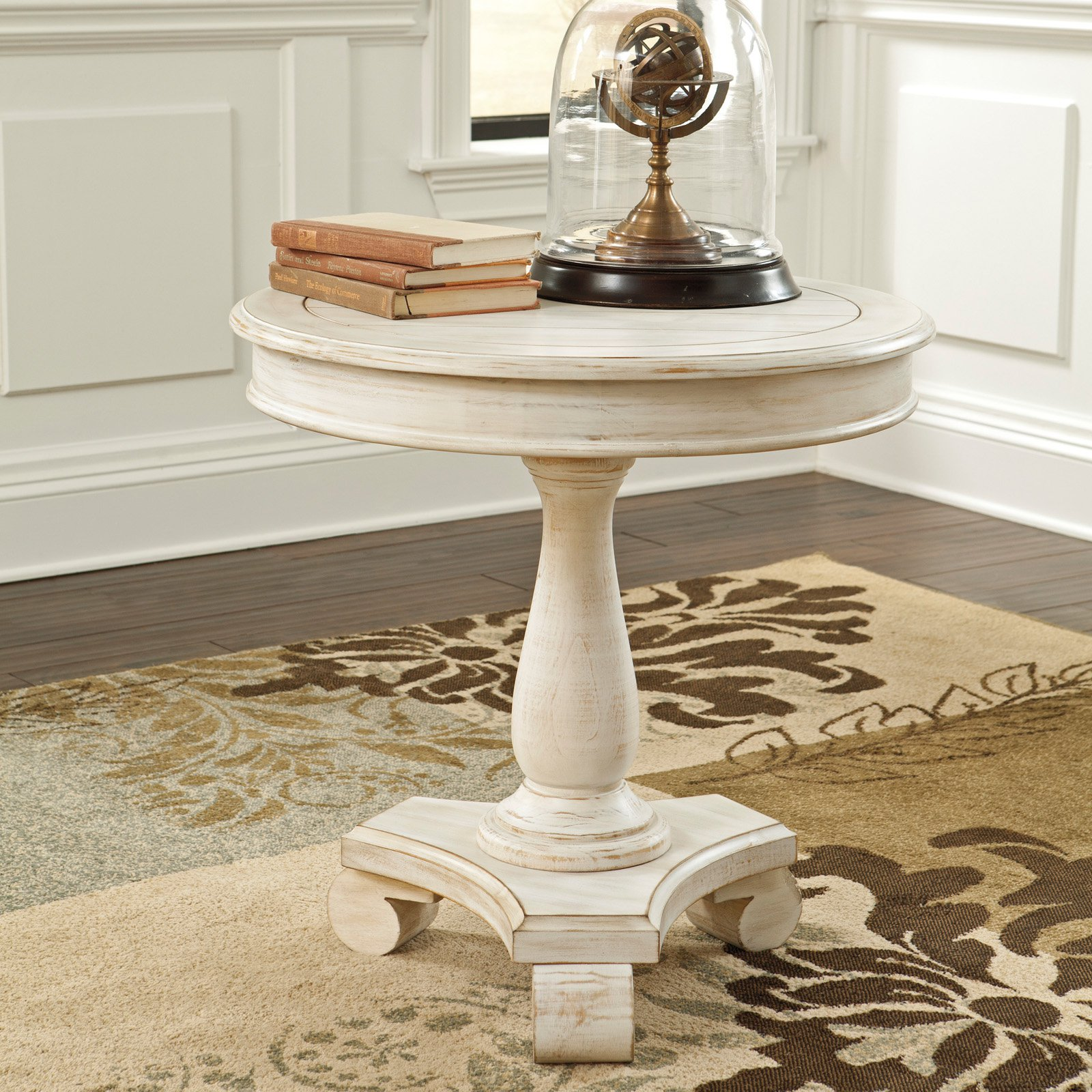 Signature Design By Ashley Cottage Accents White Round Accent Table by Ashley Furniture