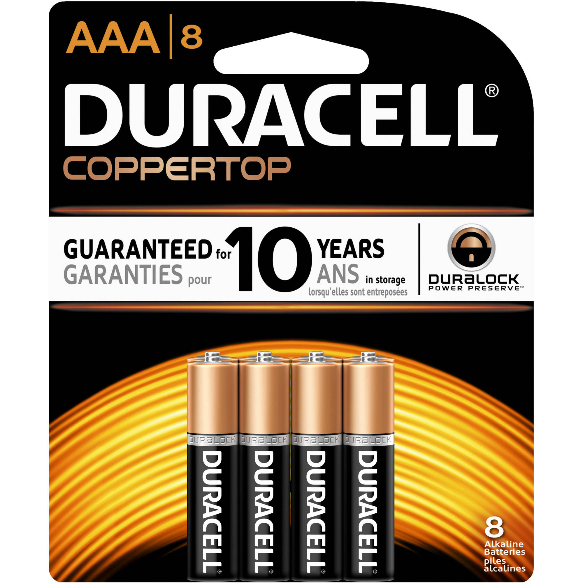 Duracell Coppertop AAA Batteries, 8 count