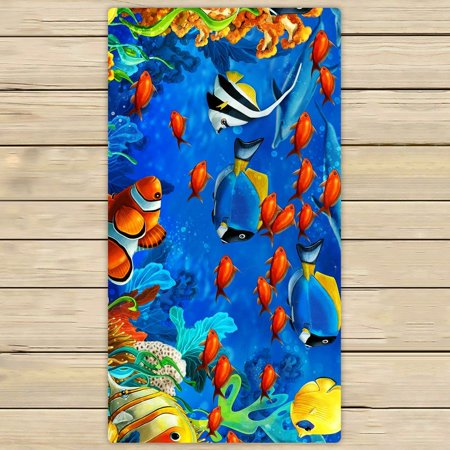 GCKG Sea World Towels,Underwater World Ocean Animals Fish Coral Beach Bath Towels Bathroom Body Shower Towel Bath Wrap For Home,Outdoor and Travel Use Size 30x56 inches