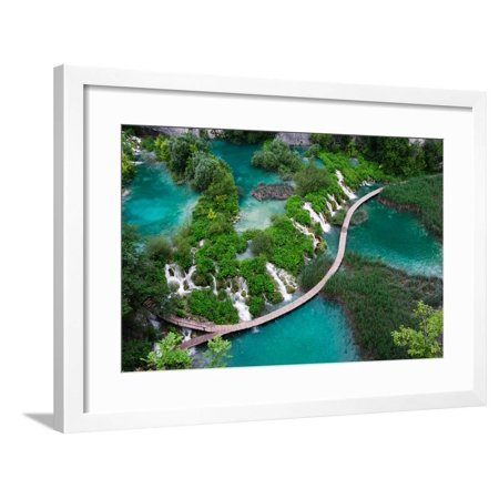 Waterfalls in Plitvice National Park. Aerial View. One Vivid Turquoise Lake Flows into Another. Framed Print Wall Art By Evgeniya (1 Waterfall)