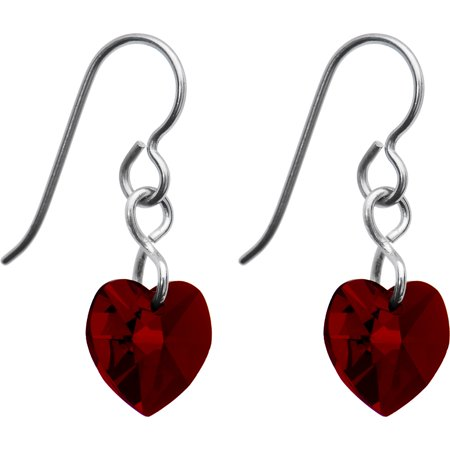 Heart Titanium Earrings - Solid Titanium Heart January Birth Month Earrings Created with Swarovski Crystals