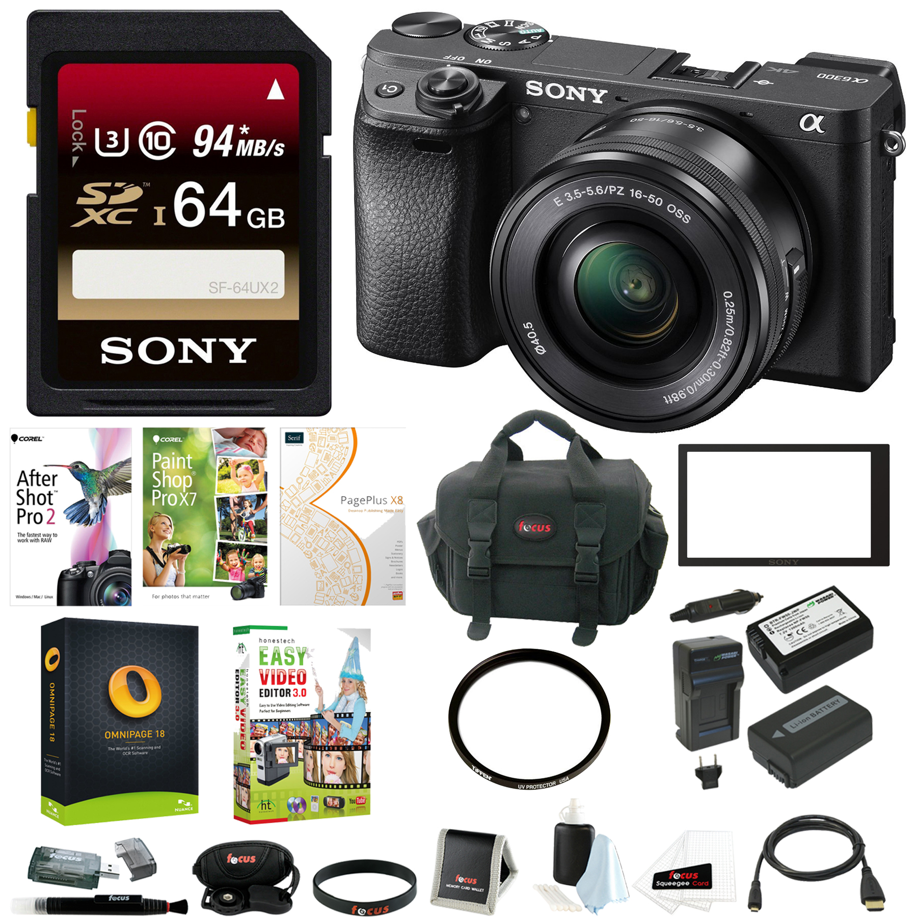 Sony a6300 Mirrorless Digital Camera w/ 16-50mm f/3.5-5.6 Lens & 64GB SD Card Bundle