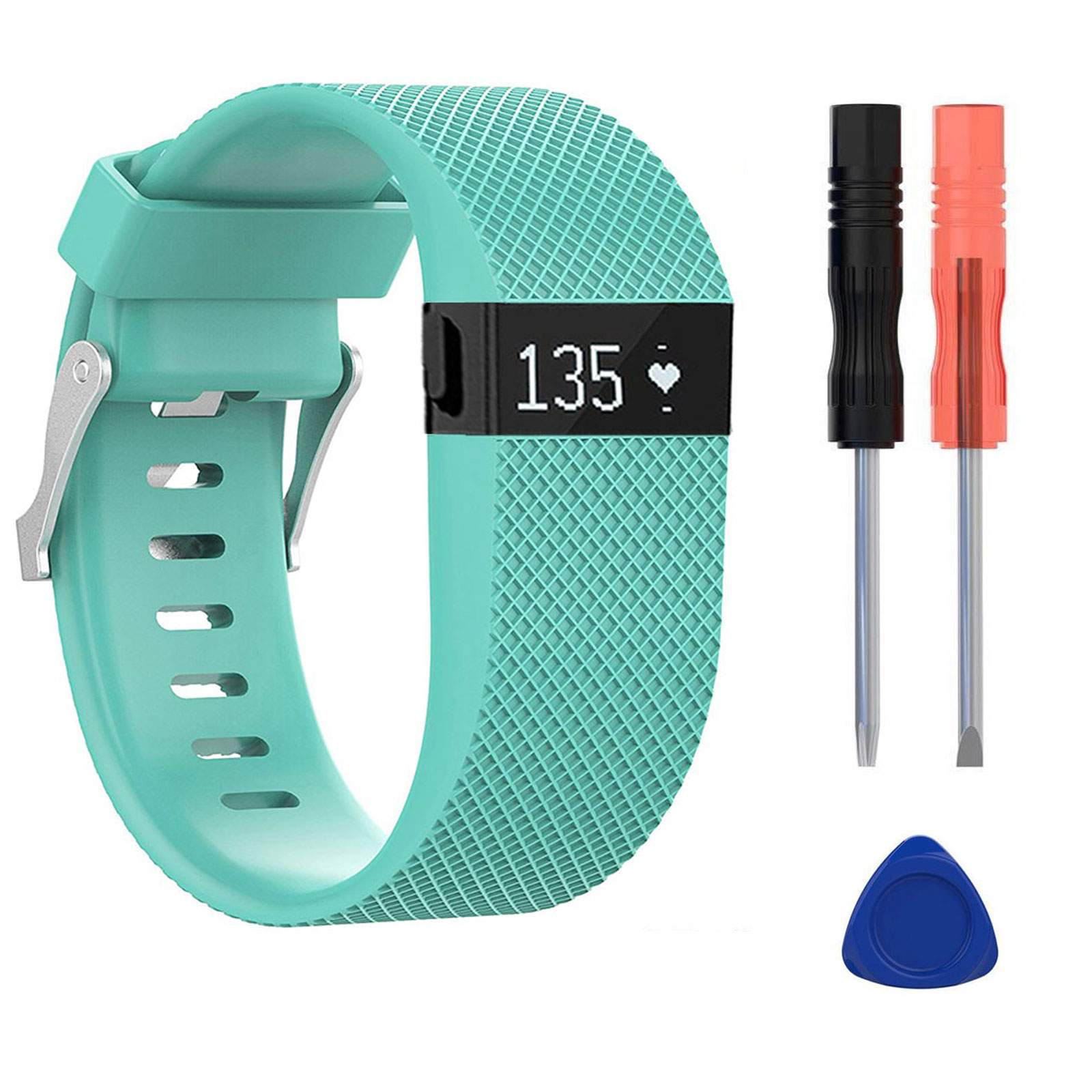 Replacement Wristband, EEEKit Premium Silicone Wristband Strap Band Bracelet with Metal Buckle Clasp for Fitbit Charge HR Fitness Tracker, Screwdriver Tools Kit Included