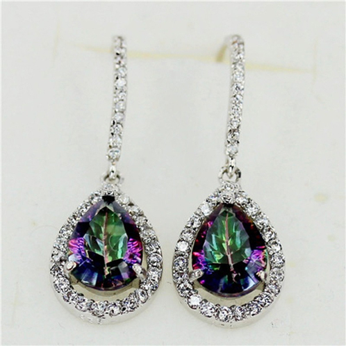 925 Sterling Silver Cubic Zirconia Rainbow Drop Earrings - image 1 of 2