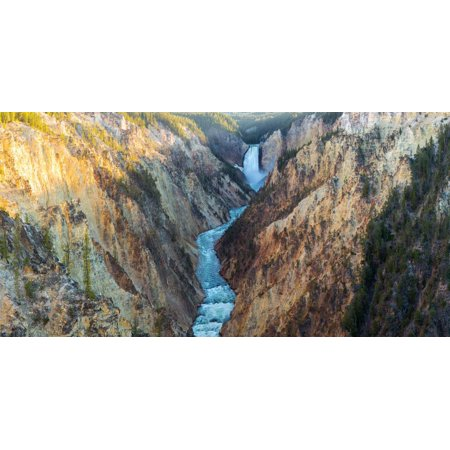 High angle view of a waterfall, Lower Yellowstone Falls, Grand Canyon, Yellowstone National Park... Print Wall Art