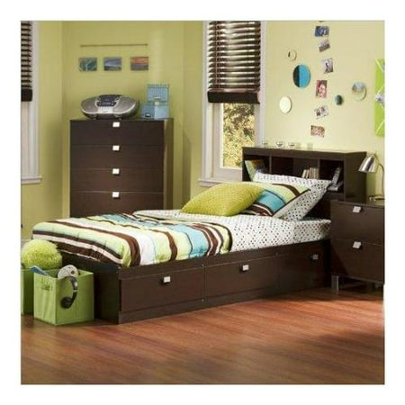 Twin Mate Captains Bed With Bookcase Headboard In Chocolate Finish