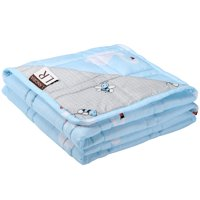 Cooling Weighted Blanket for Kids 7lbs, 48''x60'' | Single Size Bed | Non-toxic Glass Beads | Breathable Cotton with Glass Beads | Blue