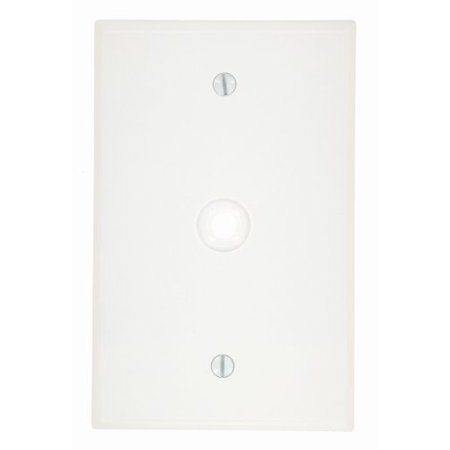 """Leviton 80513-W White Midway Single Gang .312"""" Cable Wall Plate"""