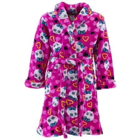Girls Fleece Shawl Collar Robe - Sweet and Sassy Girls Pink Skull Fleece Bathrobe Size S/4-5