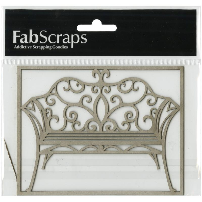 "Fabscraps Vintage Elegance Die-cut Gray Chipboard Shape-filigree Bench, 4.5""x3.5"""
