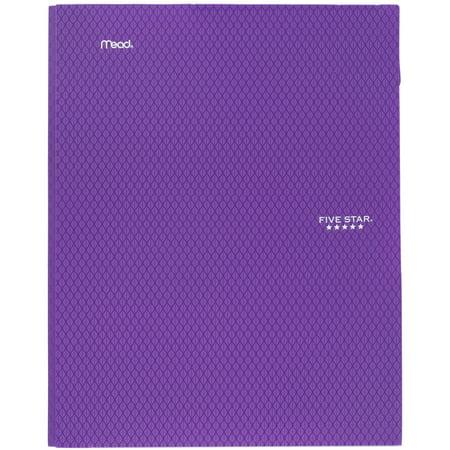 Five Star 2-Pocket Stay-Put Plastic Folder, Royal Purple (33929)