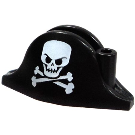 Black Pirate Hat with Large Skull and Crossbone Minifigure Accessory (Pirate Hat Skull Crossbones)