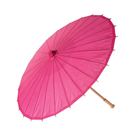 Paper Parasol (28-Inch, Fuchsia Pink) - Chinese/Japanese Paper Umbrella - For Weddings and Personal Sun Protection - Parasols For Sale
