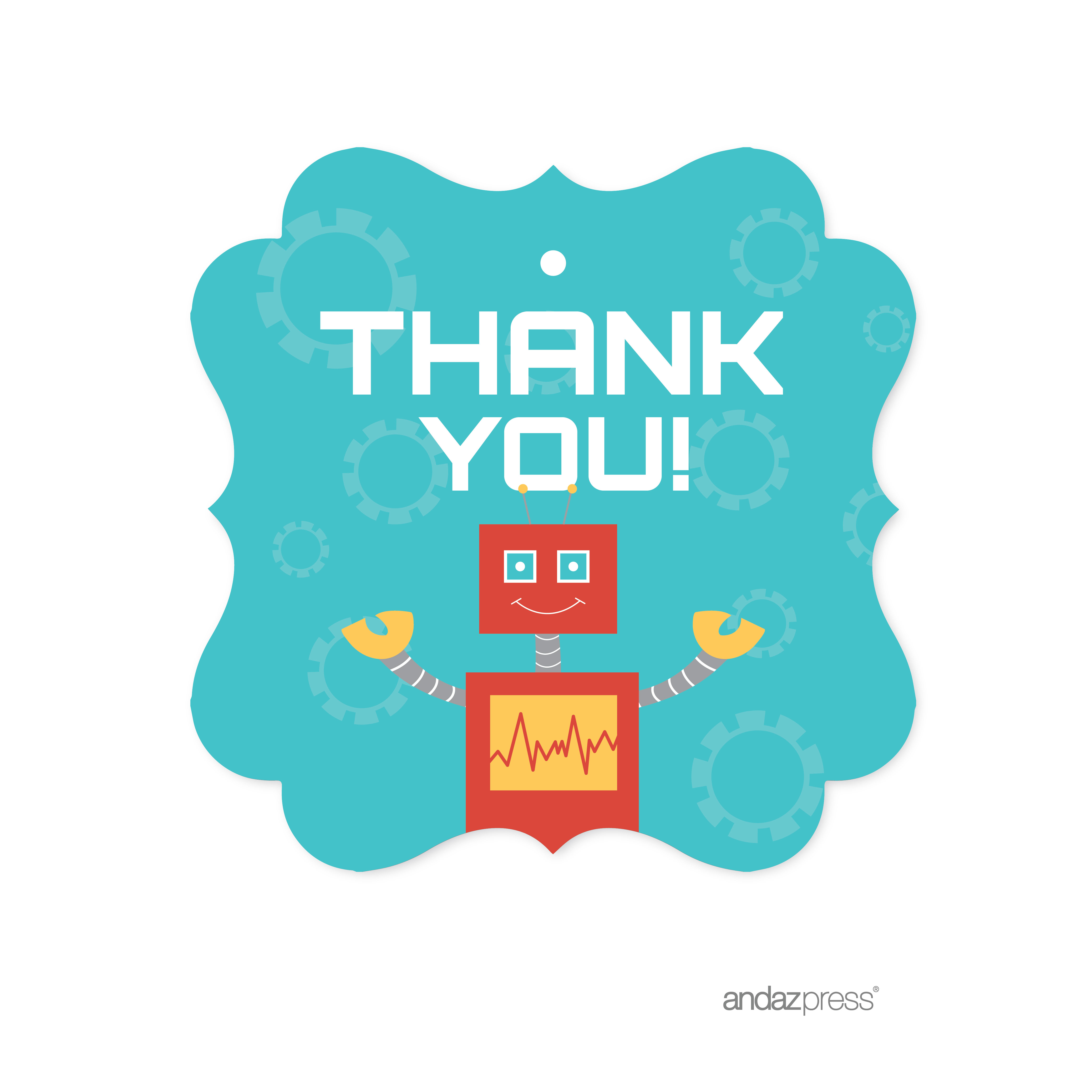 Thank You  Robot Birthday Fancy Frame Gift Tags, 24-Pack