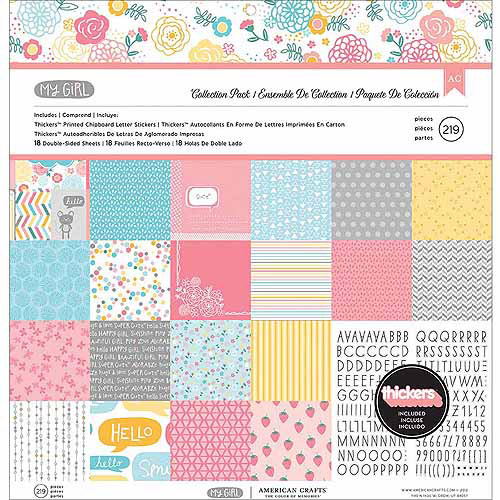"""My Girl Collection Pack, 12"""" x 12"""", 18 Double-Sided Papers + Alpha Thickers"""