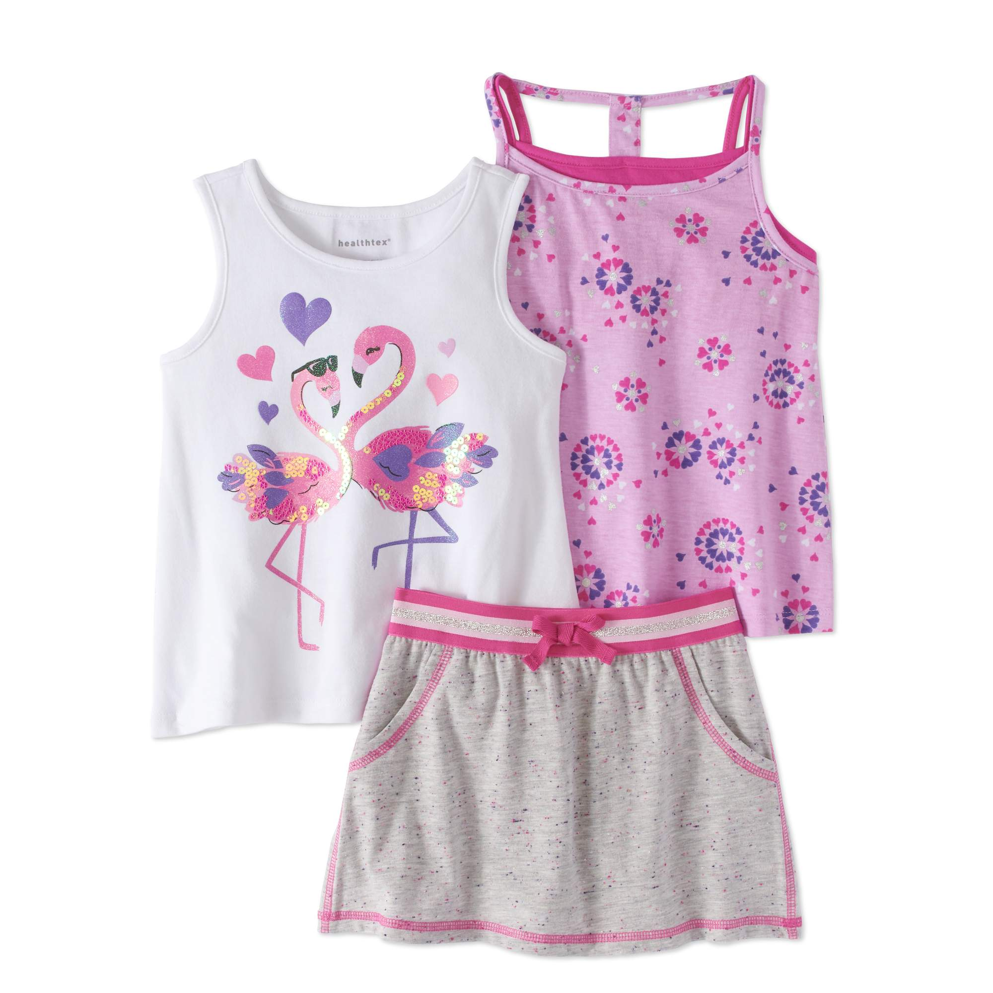 Healthtex Toddler Girls' Tank Top, Open-Back Tank Top and Scooter Skirt 3-Piece Outfit Set